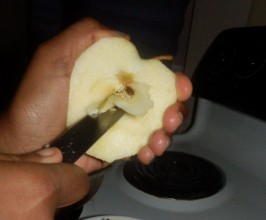 Split Apples in half and cut out core, then cut into chunks.